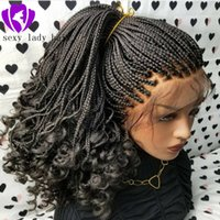 Wholesale braiding hair for box braids resale online - New black Braided Lace Frontal wig natural Box Braids With Curly Tips long kinky curly braids lace wig with baby hair for women