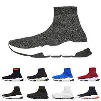 кроссовки с блестками оптовых-balenciaga shoes men women Дешевые дизайнер скорость тренер люксовый бренд повседневная обувь speedman белый красный блеск плоские модные носки сапоги кроссовки мода тренеры Бегун