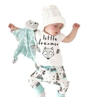 Wholesale baby clothing fox resale online - 2019 New Toddler baby kid letter printed short sleeve tops fox trousers Infant green clothes Dress