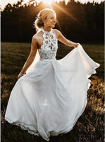 Wholesale halter top beach wedding dresses resale online - Summer Country Wedding Dresses High Neck Top Lace Halter Full Length Chiffon Long Sexy Beach Boho Bridal Gowns Cheap Plus Size Under