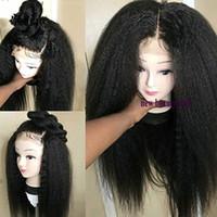 peruk afros toptan satış-Siyah / Kahverengi / bordo Doğal 360 dantel tam Peruk bebek saç ile Uzun kinky Afro Kadınlar Için Düz Sentetik Dantel Ön Peruk kostümü Derin Bölüm