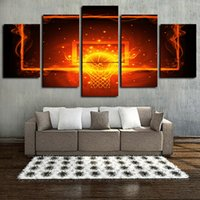 Wholesale canvas oil painting circles for sale - Group buy 5 Panels Fire Basketball Circle Backboard Artworks Giclee Canvas Wall Art for Home Wall Decor Abstract Poster Canvas Print Oil Painting