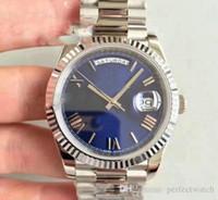 наручные часы купить оптовых-Top U1 factory DAY DATE Автоматические механические часы 41MM Мужские часы Royal Oaks Blue Face Полный браслет из нержавеющей стали Мужские наручные часы