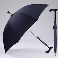 engins d'escalade achat en gros de-Hommes Umbrella Creative Canne d'escalade Umbrella longue poignée parapluie Homme antidérapante bâton de marche Homme coupe-vent Imperméables Parapluies MMA1699-1