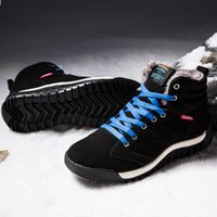 çizme astarı toptan satış-3 Renk Kış Yüksek top Kar Botları Sıcak Süet Deri Kar Boot Kürk Astarlı Dantel Up Ayak Bileği Sneakers erkekler için
