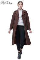 abrigo de mujer a medida al por mayor-El más nuevo estilo de Rifouting Moda Mujeres Abrigo de lana Original Tailored Collar Wind Coat Pure Color Ocio Trench