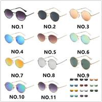 en iyi gözlük tasarımı toptan satış-2019 Best Seller Moda Tasarım Güneş Gözlüğü Kadın Erkek Steampunk Gözlük Güneş Gözlükleri Klasik Yuvarlak Metal Retro Güneş Gözlüğü