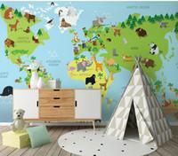 animales del mapa del mundo al por mayor-Más nuevo 3d Animal Paradise Wall Photo Mural para niños sala de jardín de infantes 8d pared Mural Cartoon World Map Wallpaper Mural decoración