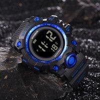 relógios de moda de plástico venda por atacado-Homens Relógio de fitness Moda Casual Multi-Função de Relógio de Pulso LED Digital Dupla Ação Fivela De Vidro PU Alça De Plástico Reloj