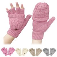 Wholesale pink gloves sale resale online - 2018 Hot Sale male and female winter New Half Finger Solid knitting Glove Eversion Wool Warmer Fingerless Gloves Drop Shipping