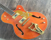 Wholesale falcon guitar body resale online - High end Thick Semi Hollow body Orange Falcon Grestc electric guitar Guitarra all color Accept Filtertron Pickups