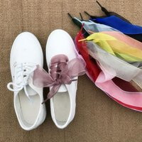 ремень 4 см оптовых-MISS M 1Pair Lace Shoestring Women 4CM Belt Ribbons Soft Wide Shoe Decorations