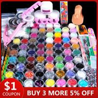 ingrosso kit di arte del chiodo del rhinestone-78pcs Nail Manicure Glitter acrilico Set per Nail Art Kit Gemme Decorazione Rhinestone di cristallo Brush Tools Kit per Manicure