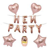 yıldız parti balonları toptan satış-Bekarlığa veda Partisi Mektup Balon Gül Altın Bekarlığa Veda Partileri Dekorasyon Yıldız Kalp Şekli Alüminyum Filmi Moda Yaratıcı Balonlar Takım 6mxD1