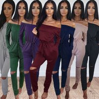 Wholesale burgundy skinny suit resale online - Woman Solid Color Jumpsuit Women Clothing Suit Word Collar Tube Top Strapless Long Sleeves Jumpsuit Trousers
