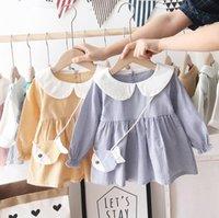 balık baskı elbise toptan satış-Balık Çanta ile Bahar Kız Çocuk Giyim Şık Elbise Uzun Kollu Pet Pan Yaka Ekose Baskı elbise Dış Giyim Kız Şık Elbise