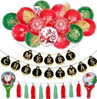 kırmızı sıcak balon toptan satış-Noel balonlar 12 inç sıcak altın kırmızı, yeşil baskı x'mas balon siyah altın kağıt kartları Noel bayrak balon dekoratif zincir