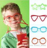 canudos de plástico azul venda por atacado-Quente! Engraçado Palha De Óculos Macio Único Tubo Bebendo Flexível Crianças Acessórios Do Partido Canetas De Beber De Plástico Rosa Azul Colorido