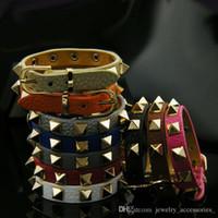 ingrosso braccialetto di cuoio nodo-Gioielli di design Donne di lusso Bracciale in pelle con rivetto Punk Knot Bracciali colorati Gioielli di fidanzamento per le nozze