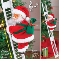gros ornements achat en gros de-Escalade électrique échelle Père Noël Figurine Boule de Noël Fête de Noël Fête de bricolage Artisanat Navidad 2020 Cadeau