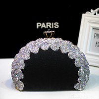 Wholesale dinner clutches resale online - Women s leather clutch bag Ladies diamond shell bag clutch fashion dinner messenger Women banquet