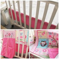 Wholesale cotton embroidered duvet cover for sale - Girls Baby Crib Bedding sets pure Pink color Embroidery one kit Child skirt bed suit spring dhE1