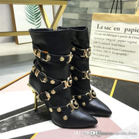 Wholesale metallic high heel leather for sale - Group buy High heeled womens boots with metallic elements of Spiky ankle boots with studded trim Slim sexy shoes with box