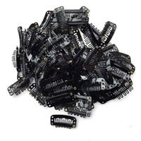 cabelo preto de encaixe venda por atacado-40pcs em forma de u snap clipes de ferro para extensões de cabelo de penas perucas trama preta F1.9