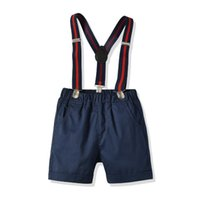 Wholesale baby first birthday clothing online - Toddler Boys Clothes Baby Boys Cake Smash Outfit First Birthday Shorts Pants Adjustable Y Back Suspenders Clothes Set Big Boys Clothes Y