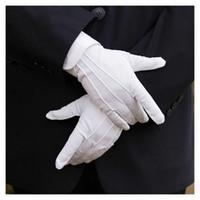 eldiven örneği toptan satış-1 pair beyaz emek sigortası pamuk iş elastik eldiven kadın erkek ince orta kalın görgü tören eldiven muayene eldiven