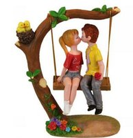 Wholesale couples swings resale online - Creative Figurines Creative Resin Swing Kiss Couple Model Ornaments Desktop Crafts Cartoon Lovers Figurines Home Decor Accessories Wedding