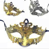 mascarilla dorada al por mayor-Máscara retro para hombre Greco Romano para el carnaval de la mascarada del gladiador de la vendimia de oro / plata máscara máscaras de Halloween Carnaval de plata de la media cara