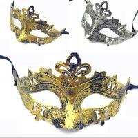 altın yüz maskesi toptan satış-Mardi Gras için Retro Greco Roman Erkek Maske Gladyatör Masquerade Vintage Altın / Gümüş Maske Gümüş Karnaval Cadılar Bayramı Yarım Yüz Maskeleri