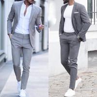 parti için gri smokin toptan satış-Gri erkek Vintage 2 Parça Suits Eğlence Düğün Smokin Custom Made Mens Örgün Parti İş Damatlar Suit (Ceketler + pantolon)