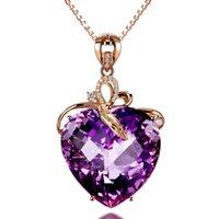 collier en or violet achat en gros de-D372 Nouveau Design Amythest Pendentif Collier De Mode Femmes rose plaqué or femelle Top Qualité cristal violet Bijoux Livraison Gratuite