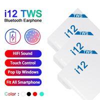 tws écouteur achat en gros de-écouteurs bluetooth i12 tws bluetooth 5.0 sans fil prise en charge fenêtre pop-up Écouteurs écouteurs colorés à commande tactile