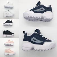sapatos de escola de bebê venda por atacado-FILA Disruptor II Alunos Esporte Sapatos Tênis Crianças Escola Esporte Formadores Bebê Criança Kid Casual Skate Elegante Sapatos de Grife Tamanho 28-35