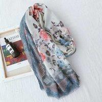 ingrosso asciugamani sottili di cotone-Sciarpa femminile stampa floreale Sciarpa in cotone e lino Primavera ed estate Wild Thin Sezione solare protezione solare Asciugamano