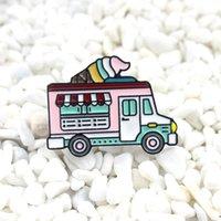 venda de carros da china venda por atacado-Esmalte dos desenhos animados colorido sorvete móvel venda projeto do carro gotejamento Pin Broche Para As Mulheres