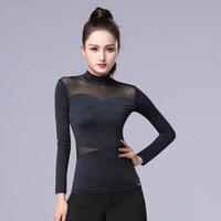 одежда для румбы оптовых-Рубашки латинского танца Ice Silk с длинным рукавом женские топы Cha Cha Rumba Практика Performance Dancewear Женская одежда для танцев DNV11206