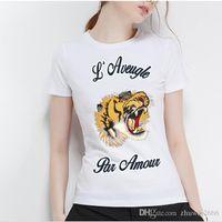 shirts tigre da moda venda por atacado-Nova camisa 100% algodão das mulheres, T-shirt Graffiti Tiger elegante e encantadora, T-shirt carta de homens impressos, lazer conforto T-