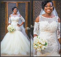 Wholesale white lace tulle cape resale online - New Elegant African Mermaid Wedding Dresses Cape Sleeve puffy tulle skirt Bridal Gowns vintage Lace Applique Plus Size Wedding Dress White
