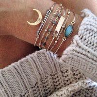 Wholesale moon bangle resale online - ALYXUY Set Boho Beads Charm Bracelet Bangle For Women Fashion Gold Moon Heart Crystal Gem Bracelets Set Jewelry Party Gift