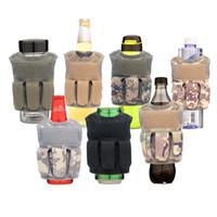 Wholesale tactical shoulder strap for sale - Group buy Tactical Beer Bottle Cover Military Mini Molle Vest Personal Bottle Drink Set Adjustable Shoulder Strap Beer Bottle City Jogging Bags