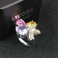 Wholesale butterfly platinum resale online - New arrival Luxury Silver butterflies plate platinum rings for women butterfly rings prong setting three color crystal party famale ring