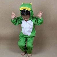 tela de rana al por mayor-Baby Kids Cartoon Animal Frog Costume Performance Clothes Día del niño Disfraces de Halloween Monos para niño Niño Niñas Dress Up 2019 Nuevo