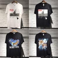kartal gömlek baskısı toptan satış-2019 Yeni Kaba T gömlek Erkekler Bir $ AP Rocky Hip Hop Streetwear At Kartal Baskılı Kısa Kollu Pamuk Tees Beyaz Siyah CLI0518