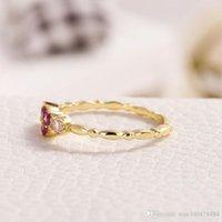 rote herz diamanten ring großhandel-Vergoldet 14K Gold Intarsien Roter Korund Herzförmiger Ring Weibliche Kleine Frische Ornament Crown Diamant Ring Hochwertiger Zirkon Verlobungsring Ann