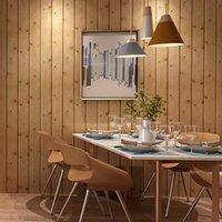 faux holz tapete großhandel-Original neue faux Holzbrett Tapete 3D natürliche umweltfreundliche Tapete Wohnzimmer Dachboden Decke Bekleidungsgeschäft Wanddekor