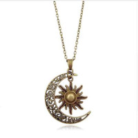 mücevherata bronz zincir toptan satış-Kadın Moda Ay Ve Güneş Hilal Kolye Kolye Retro Vintage Uzun Kazak Zincir Unisex Takı Hediyeler Gümüş Bronz